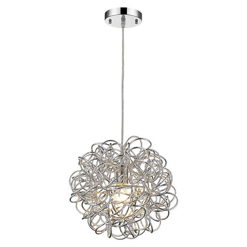 Mingle 1-Light Polished Chrome Pendant With Faceted Chrome Aluminum Wire Shade