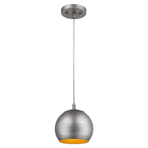 Latitude 1-Light Hand Painted Weathered Pewter Pendant With Gold Interior Shade