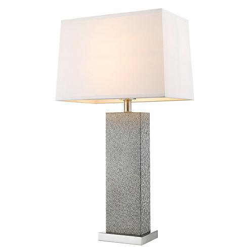 Merge 1-Light Brushed Nickel And Pewter Table Lamp With Homespun Linen Shade