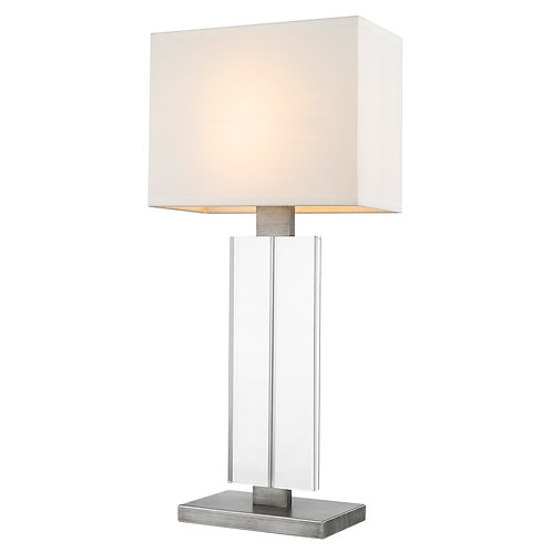 Shine 1-Light Acrylic And Hand Painted Weathered Pewter Table Lamp With Off-Whit