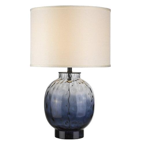 Panacea 1-Light Lagoon Waterglass And Satin Black Table Lamp With Lattice Cream