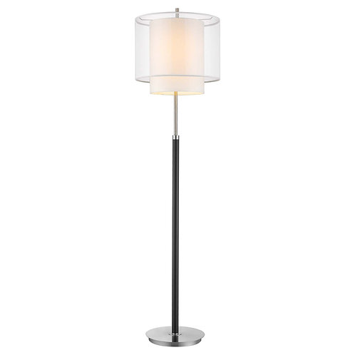 Roosevelt 1-Light Espresso And Brushed Nickel Floor Lamp With Sheer Snow Shantun