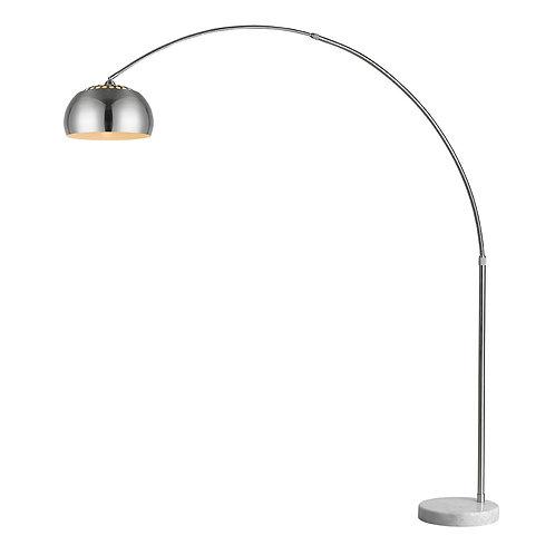 "Mid 1-Light Brushed Nickel Adjustable Arc Floor Lamp With Metal Shade (73"")"