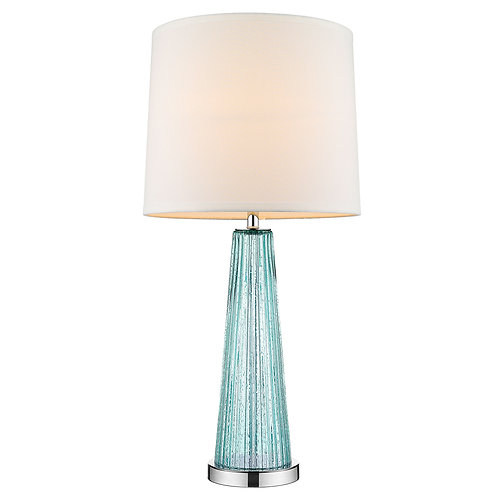 Chiara 1-Light Seafoam Glass And Polished Chrome Table Lamp With Off-White Shant