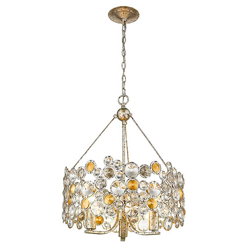 Vitozzi 3-Light Antique Silver Leaf Chandelier