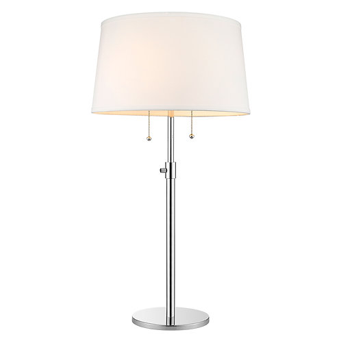 Urban Basic 2-Light Polished Chrome Adjustable Table Lamp With Off-White Linen S
