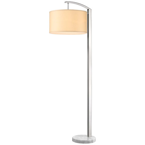 Station 1-Light Brushed Nickel Floor Lamp With Coarse Ivory Linen Shade
