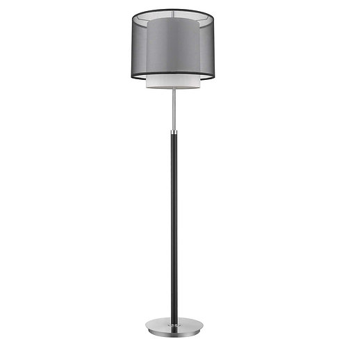 Roosevelt 1-Light Espresso And Brushed Nickel Floor Lamp With Smoke Gray Shantun