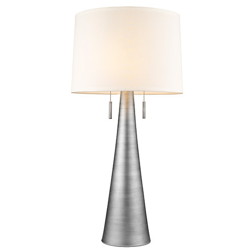 Muse 2-Light Hand Painted Weathered Pewter Table Lamp With Off-White Shantung Sh