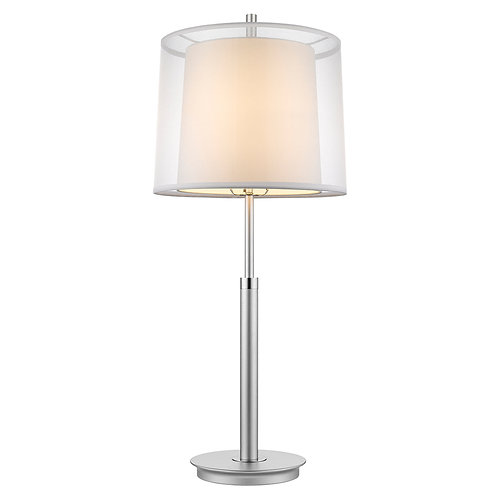 Nimbus 1-Light Metallic Silver And Polished Chrome Table Lamp With Sheer Snow Do
