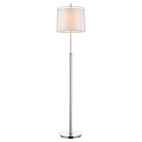 Nimbus 1-Light Metallic Silver And Polished Chrome Floor Lamp With Sheer Snow Do