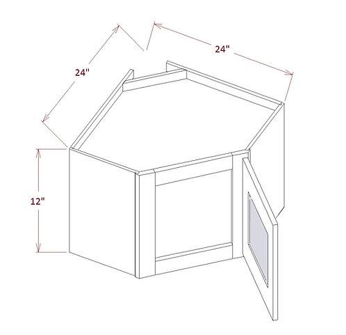 """Shaker Espresso Diagonal Corner Stacker Wall Glass Door 24""""W X 12""""H X 12""""D"""