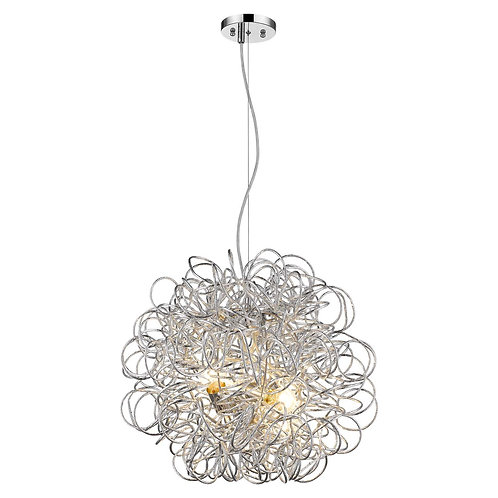 Mingle 4-Light Polished Chrome Pendant With Faceted Chrome Aluminum Wire Shade