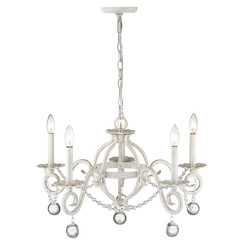 Callie 5-Light Country White Chandelier