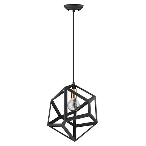 Hedron 1-Light Matte Black Pendant
