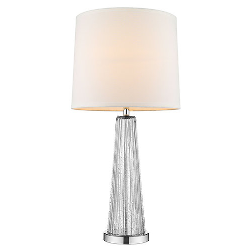 Chiara 1-Light Clear Glass And Polished Chrome Table Lamp With Off-White Shantun