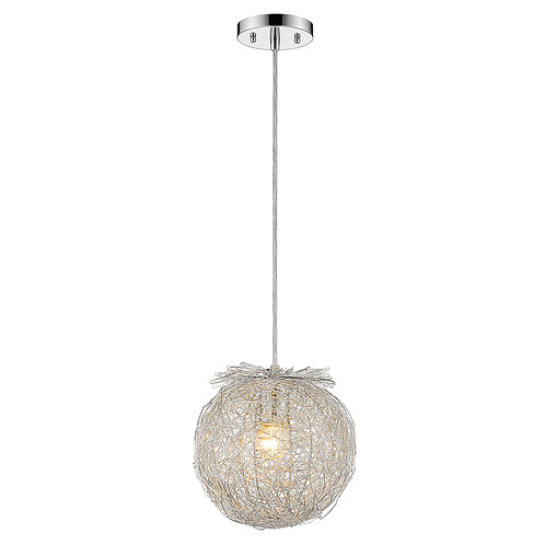 """Distratto 1-Light Polished Chrome Pendant Enmeshed Aluminum Wire Shade (12"""")"""