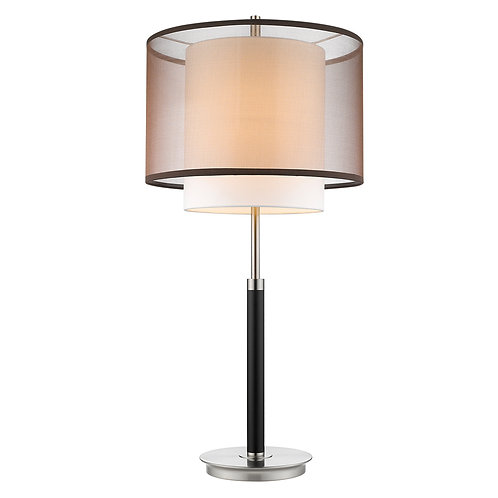 Roosevelt 1-Light Espresso And Brushed Nickel Table Lamp With Smoke Gray Shantun