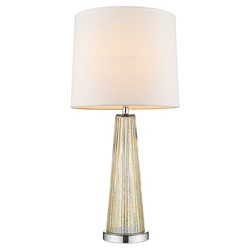 Chiara 1-Light Champagne Glass And Polished Chrome Table Lamp With Off-White Sha