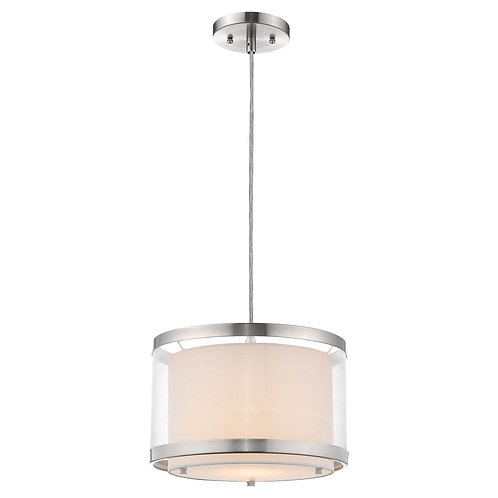 Lux 1-Light Brushed Nickel Pendant With Metal Trimmed Sheer Snow Shantung Two Ti