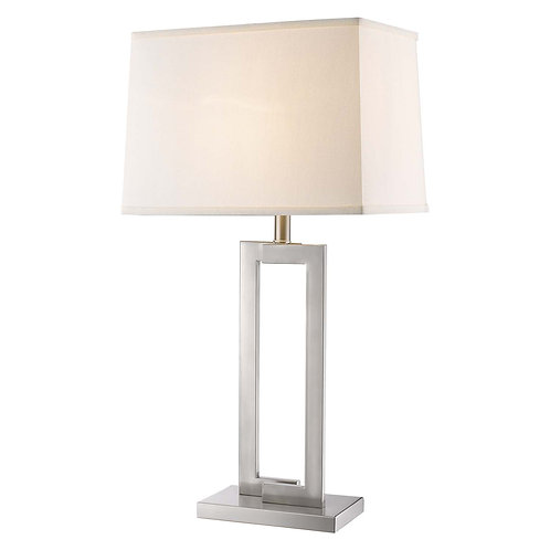Riley 1-Light Brushed Nickel Table Lamp With Off-White Shantung Shade