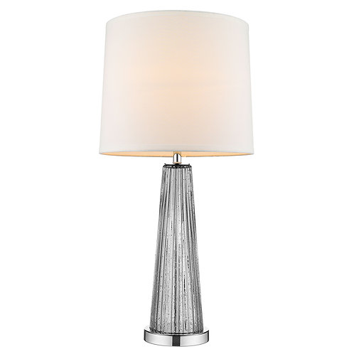 Chiara 1-Light Steel Glass And Polished Chrome Table Lamp With Off-White Shantun