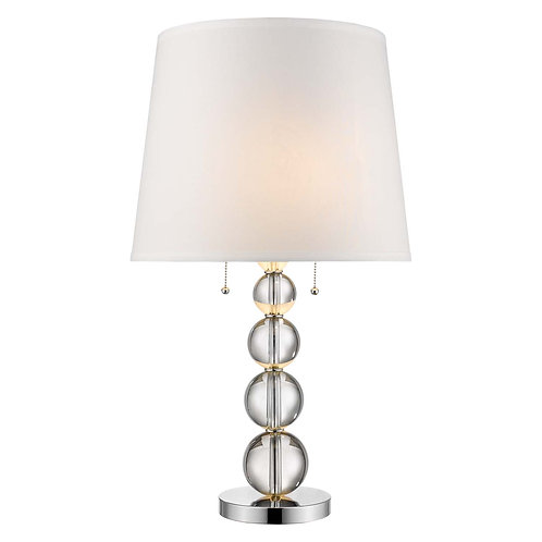 Palla 2-Light Crystal And Polished Chrome Table Lamp With White Linen Shade