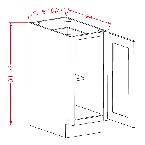 "Shaker Grey BASE FH DOOR-21""W X34.5""H X24""D-1D-1S"