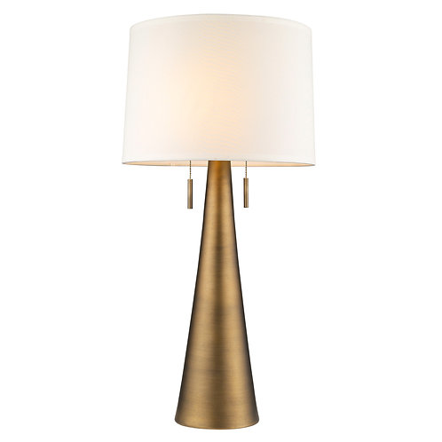 Muse 2-Light Hand Painted Antique Gold Table Lamp With Off-White Shantung Shade
