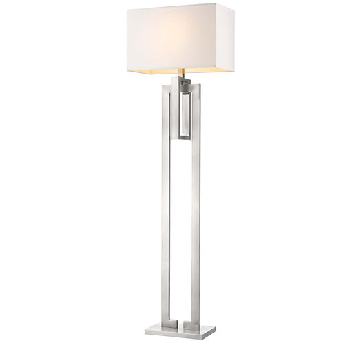Precision 1-Light Brushed Nickel Floor Lamp With Ivory Shantung Shade