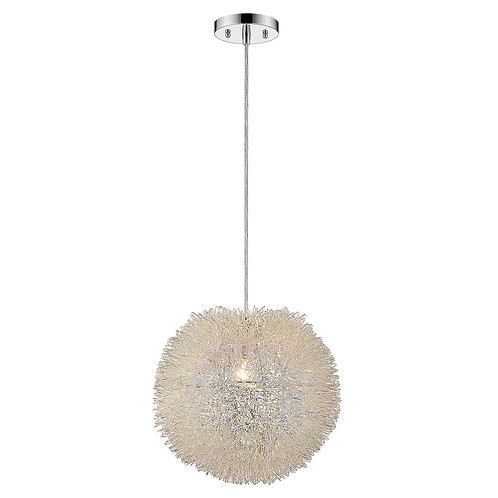 Luminary 1-Light Metallic Silver Pendant With Hand Woven Aluminum Wire Shade (15