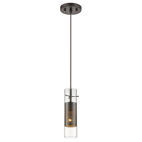 Scope 1-Light Antique Bronze Pendant Double Glass and Mesh Shade