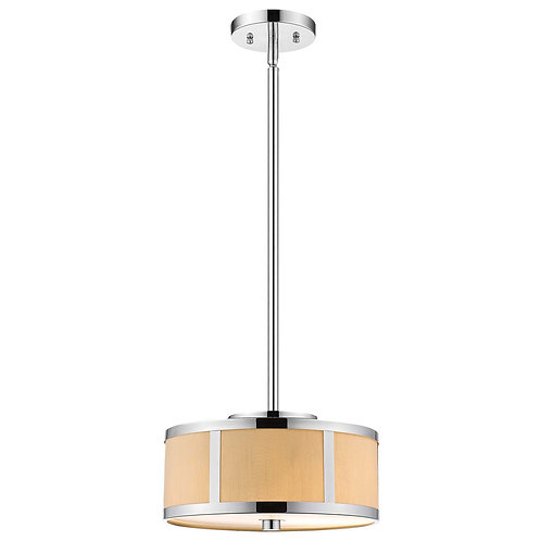 Butler 2-Light Polished Chrome Pendant With Coarse Cream Linen Shade And Opal Ac