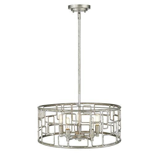 Amoret 5-Light Antique Silver Convertible Pendant