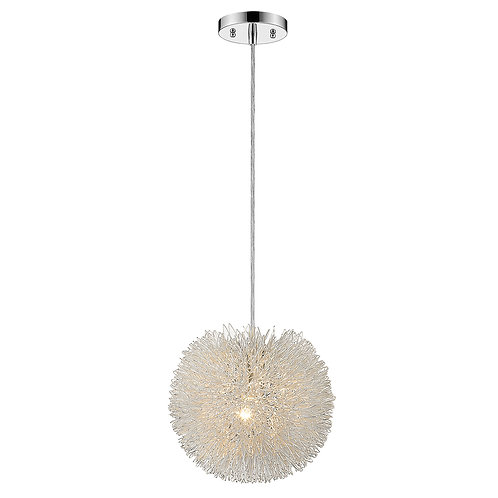 Celestial 1-Light Metallic Silver Pendant With Hand Woven Aluminum Wire Shade