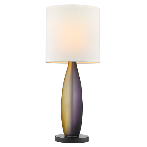 Elixer 1-Light Plum/Gold Frosted Glass And Ebony Lacquer Table Lamp With Lattice