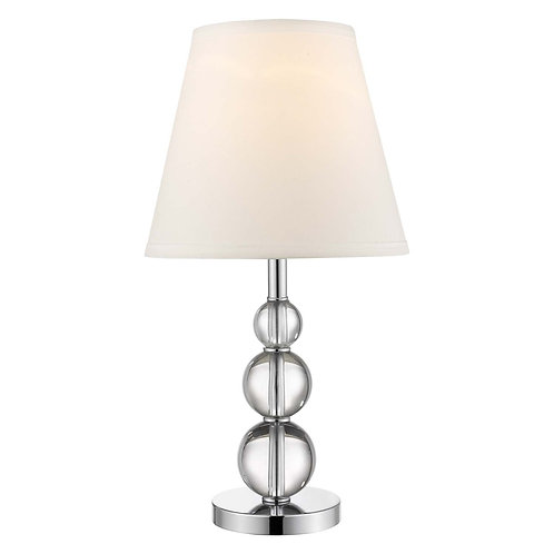 Palla 1-Light Crystal And Polished Chrome Accent Table Lamp With White Linen Sha