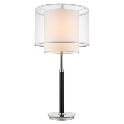 Roosevelt 1-Light Espresso And Brushed Nickel Table Lamp With Sheer Snow Shantun