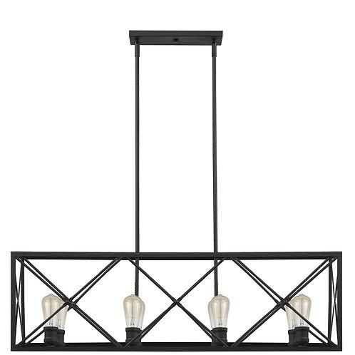 Brooklyn 8-Light Matte Black Island Pendant With Metal Framework Shade