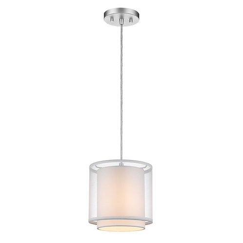 Brella 1-Light Metallic Silver Mini Pendant With Sheer Snow Shantung Two Tier Sh