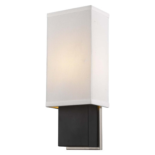 Finestra 1-Light Espresso And Polished Chrome ADA Wall Sconce With Homespun Line