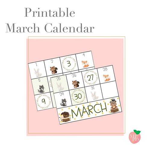 Printable March Calendar Cards (Woodland)