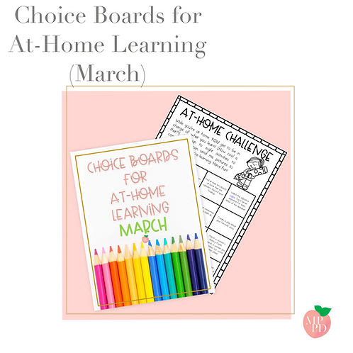 Choice Boards for At-Home Learning