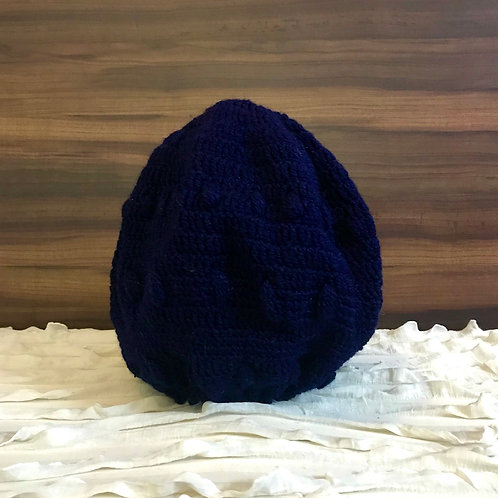 Navy Blue Crochet Hand-knit Beanie