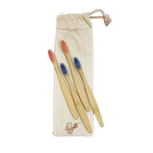 Bamboo Toothbrush Nylon Bristles (Pack Of 4) - For Kids