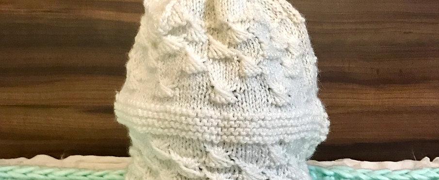 White Hand-Knit Shell Beanie