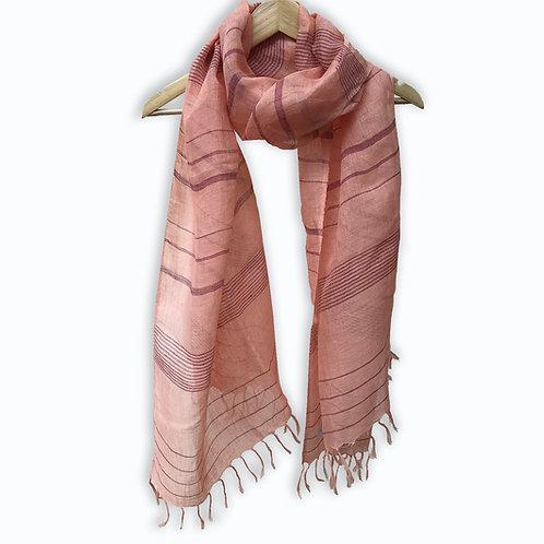Handwoven Linen Stole (Maroon Stripes)