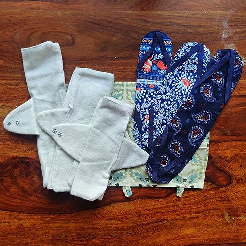 Unmukt Reusable Sanitary Napkins: All Sizes Kit (6 Pads + 3 Sleeves)