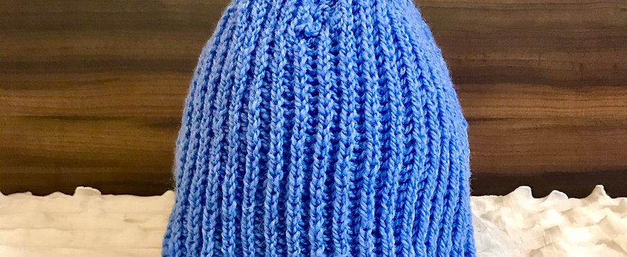 Light Blue Classic Hand-knit Beanie
