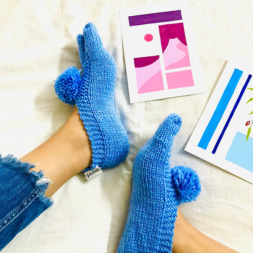 Light Blue Hand Knit Socks
